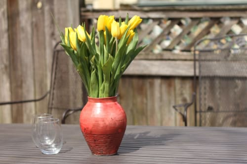 Vases & Vessels by Kingfisher Potters seen at Private Residence, Philadelphia - Fire red raku vase