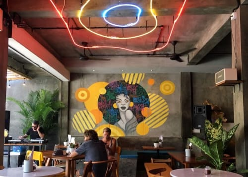 Murals by Anna Bronza seen at Funky Pancakes Bali - Funky Girl