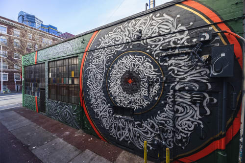 Murals by Leo Shallat seen at The Crocodile, Seattle - Elevate This Sound | Exterior Mural Installation