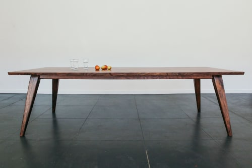 "Tables by Studio Moe seen at Creator's Studio, Portland - 96"" Columbia Dining Table in Oregon Black Walnut"