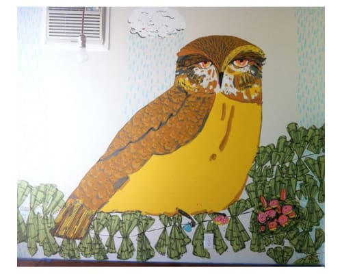Murals by Elizabeth Graeber seen at Private Residence, Washington - Owl Mural