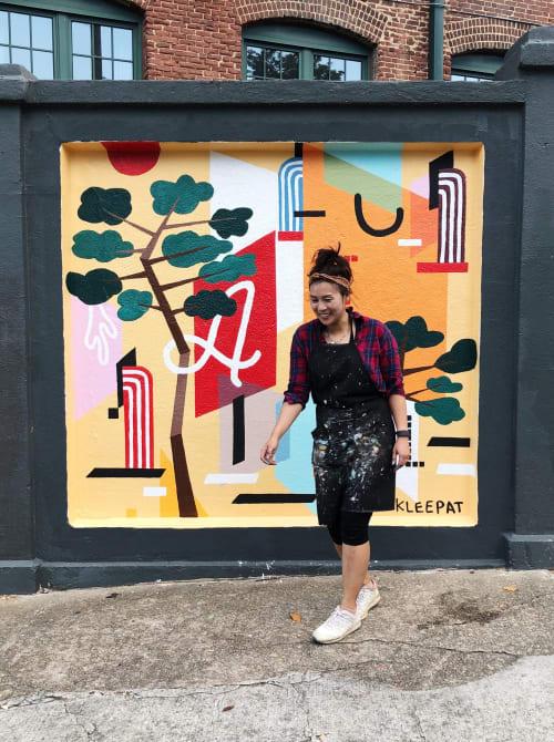 Street Murals by Kaye Lee Patton seen at Carroll Street Southeast, Atlanta - Pined Pine and Moon