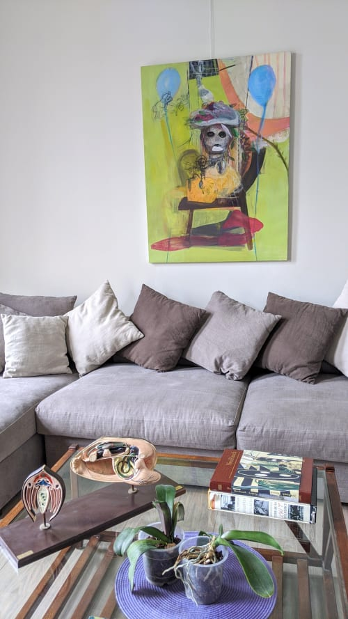 Paintings by Yasemin Senel seen at Private Residence, Brussels - Monkey series (Blue Balloons)
