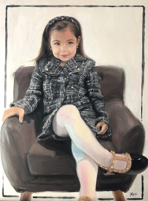 Paintings by Xinh Oil Paintings seen at Private Residence, Adelaide - Valentina - Commission Children Portrait Oil Paintings