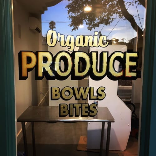 Signage by Dewayne Norton Sungold Signs seen at RAD HABITS Juice Co., San Diego - Storefront arts