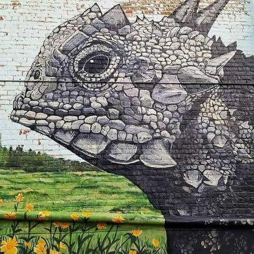 Street Murals by Sarah J Blankenship seen at 116 Depot St, Elgin - TX Horned Lizard Mural