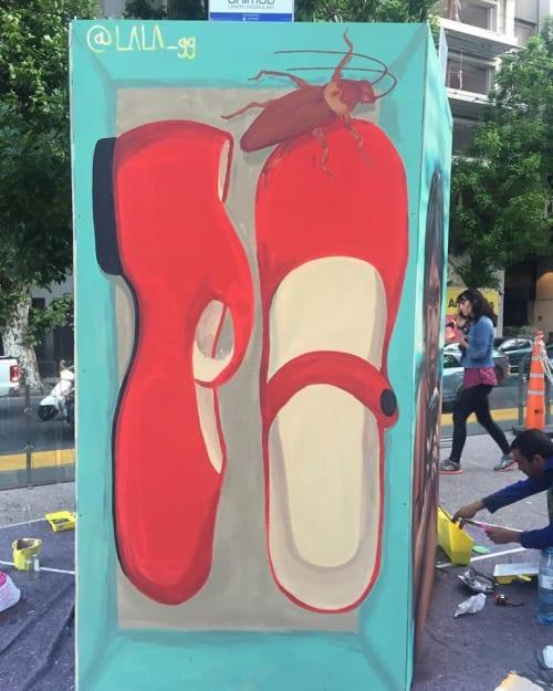 "Murals by Lala gg seen at Polo Cientifico Tecnológico, FQD - ""Encaja"", alguien olvidó taparla / ""Inbox"", someone forgot to put the top…"
