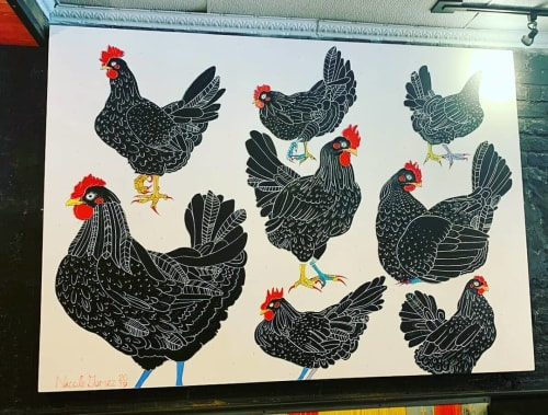 Paintings by Nicole Gomez seen at Hot Chick, Richmond - Big-winged chicken painting