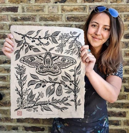 "Art & Wall Decor by RLH Prints seen at Private Residence, London - ""Metamorphosis"" Life Cycle of a Moth Lino Print"