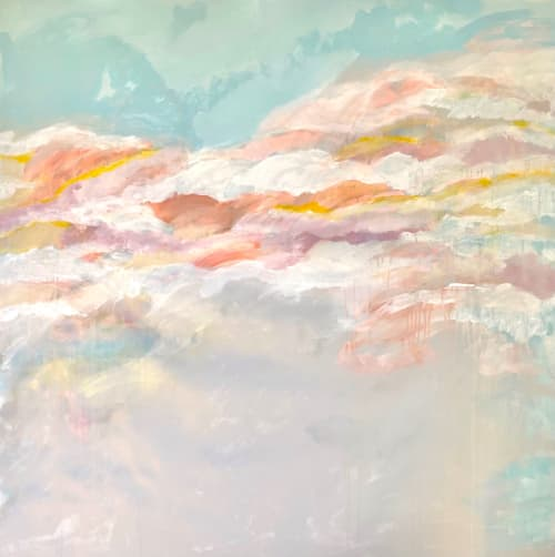 'WATCHiNG THE ORANGE CLOUDS' painting by Linnea Heide | Paintings by Linnea Heide contemporary fine art