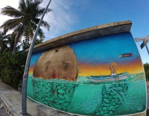 """Street Murals by Sens seen at Private Residence, Playa del Carmen - """"Soy uno"""""""