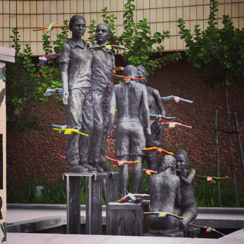 Public Sculptures by Marieke Prinsloo Rowe seen at University of South Africa, Pretoria - UNISA HIV AIDS
