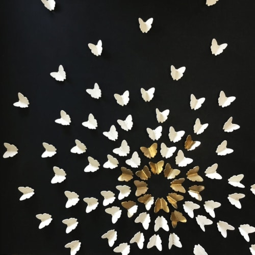 Art & Wall Decor by Elizabeth Prince Ceramics seen at Creator's Studio, Manchester - Set Of 90 Gold and White Porcelain Butterflies