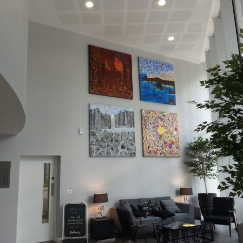"Paintings by Deni Lillian Art seen at Chiswick Point, London - An Art Gallery in a Luxury Residential Property Development ""Bringing the outside in"" - A commission for 71 peices"