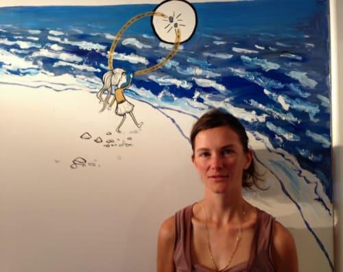 Murals by Danica Novgorodoff seen at Lily's Bar, New York - The Mermaid of Sléttusandur Mural