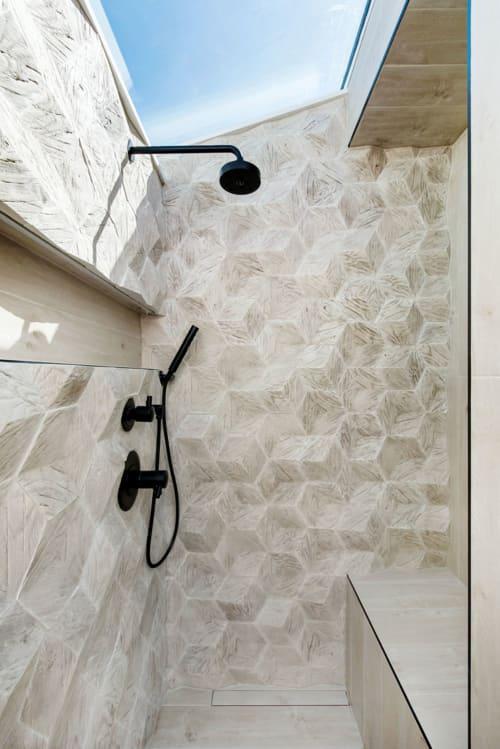 Tiles by Giovanni Barbieri seen at Private House in Saskatoon, Canada, Saskatoon - Hive 3D Hexagonal Tiles