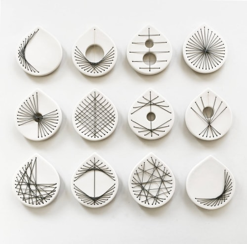 Art & Wall Decor by Elizabeth Prince Ceramics seen at Creator's Studio, Manchester - Stitched Ceramics - Set Of 12
