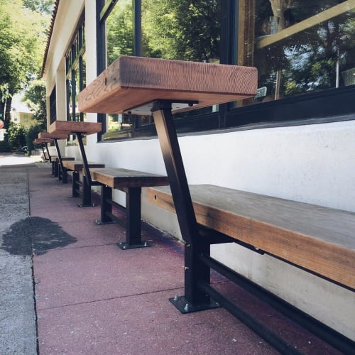 Furniture by IW (Integration Workshop) at Upper Left Roasters, Portland - Redwood Table and Benches