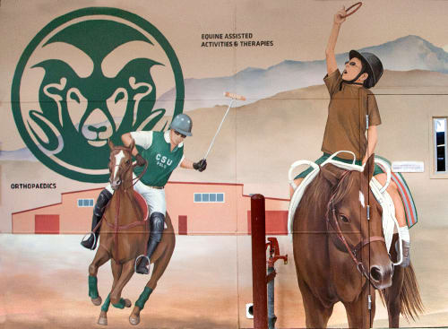 Murals by Yulia Avgustinovich seen at Fort Collins, Fort Collins - Equine Sciences Mural
