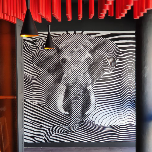 Murals by Mod Cardenas seen at Tres Elefantes, Guatemala - Elephant mural