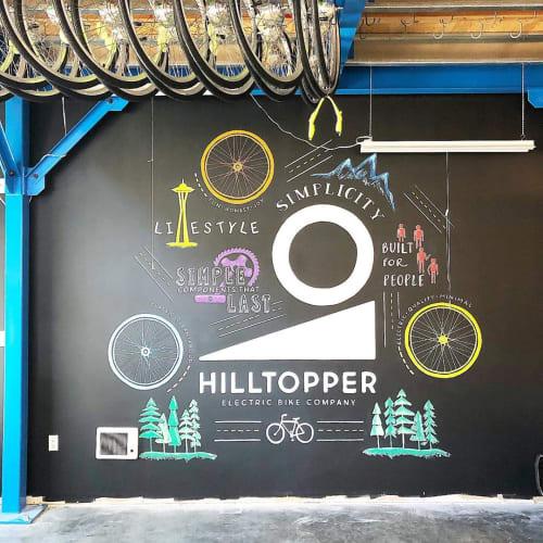 Murals by Chalk Boss seen at Hill Topper Electric Bike Company, Seattle - Chalk Art