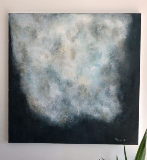 Paintings by Margaret Alice Høiesen seen at Private Residence, Stavanger - Sky is turning blue. SOLD