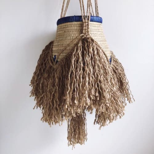 Macrame Wall Hanging by Maya Slininger seen at Private Residence, Santa Monica - Macrame Cathedral Basket Planters