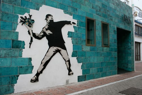 Public Mosaics by GVEGA seen at Puerto Banús, Marbella - Handmade tile ceramic mural banksy