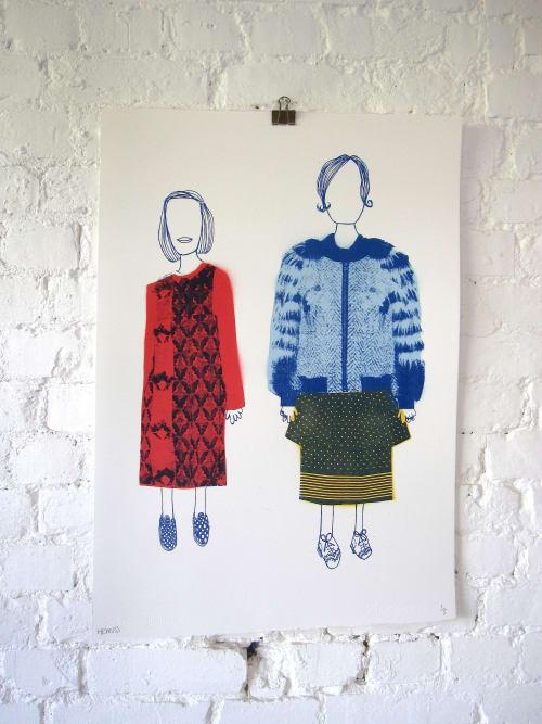 Paintings by Adam Hemuss seen at Private Residence, Pontypridd - Owl Girl and Polka Skirt