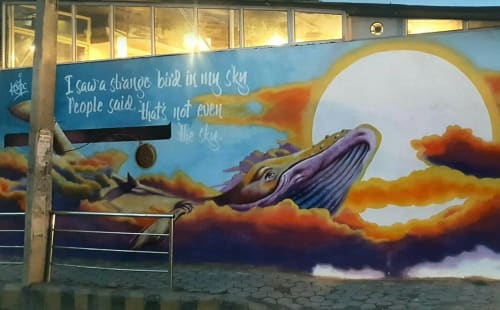 "Street Murals by San'j Singh seen at Lalitpur area, Lalitpur - ""Flying Whale"" Mural"