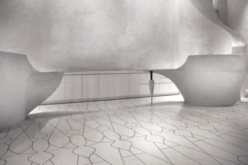 Terrazzo Floor And Cementitious Reception Desks By Master