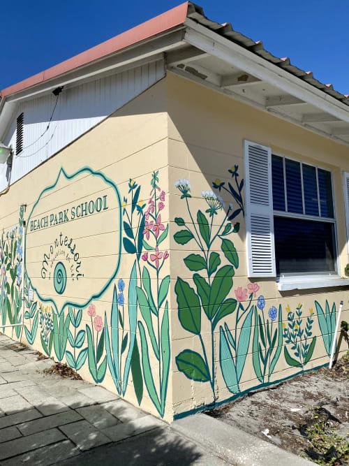 Street Murals by Britt Ford at Montessori Beach Park School, Tampa - Beach Park School Mural