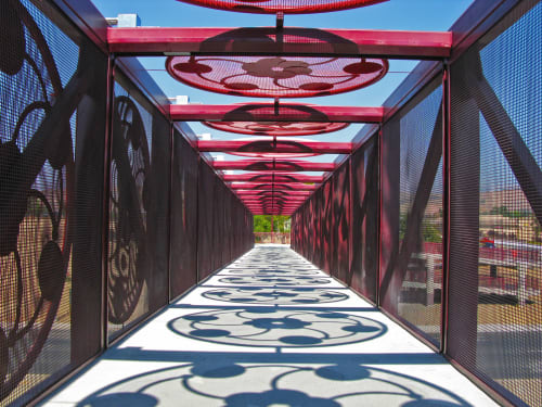 Public Sculptures by Vicki Scuri SiteWorks at Endicott Boulevard & Blossom Hill Road, San Jose, CA, San Jose - Blossom Hill Pedestrian Bridge