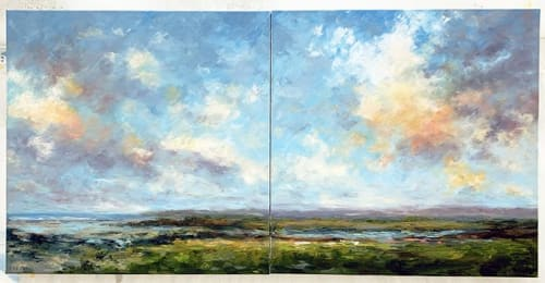"Paintings by Deborah Randall seen at Private Residence, Lexington - ""Summer Color"" diptych"