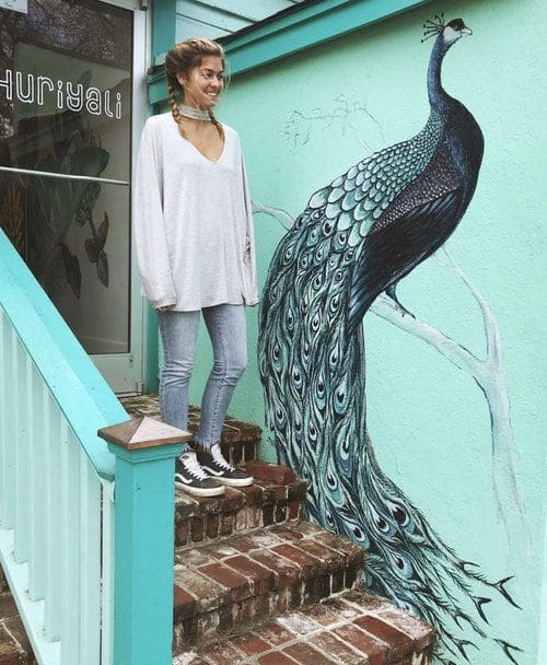 Murals by Charly Malpass Art seen at Huriyali, Charleston - Peacock