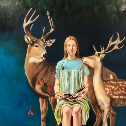 Paintings by Marjorie Atwood seen at JRB Art at The Elms, Oklahoma City - Stories of Love and Longing