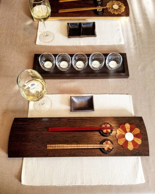 Tableware by Copper Pig Woodworking seen at Private Residence, Boston - Bloodwood & Caramelized Curly Maple Flower Sushi Board