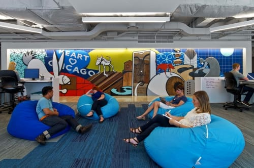 Murals by Chris Silva at Chicago Linkedin Office, West Monroe Street, Chicago, IL,, Chicago - LinkedIn Mural