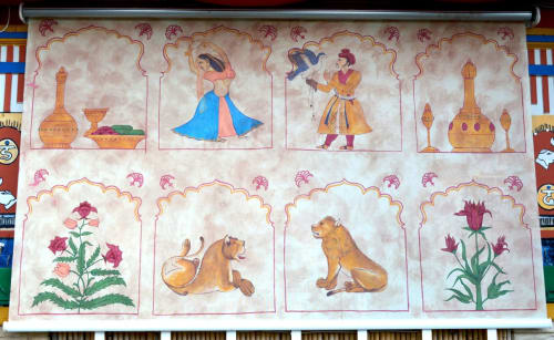 Murals by Dylan Kennedy Murals at Cosmic Cafe, Dallas - Indian Style Sunshade Paintings