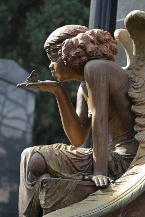 Public Sculptures by Cicero D'Ávila seen at São Paulo Cemetery, Rocio - Redhead Angel