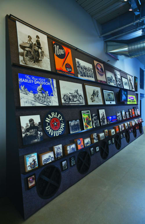Furniture by Amuneal seen at Harley-Davidson Museum, Milwaukee - Display Fixtures