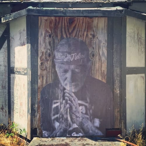 Street Murals by Cheyenne Randall aka INDIANGIVER seen at Standish-Hickey State Recreation Area, Leggett - Willie Nelson