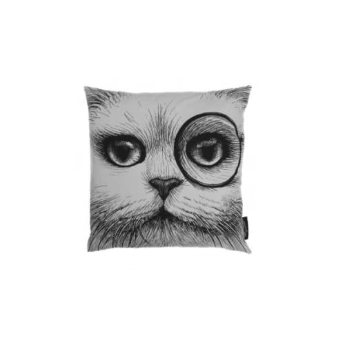 """Pillows by Rory Dobner seen at Hampstead Heath, London - """"Cat Monocle / No Monocle Cushion White"""""""