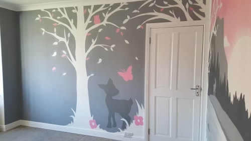 Murals by Mark One87 seen at Private Residence, High Heaton - Baby Girl Nursery Mural