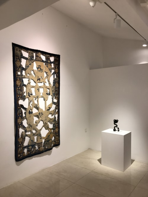 Rugs by Bo Joseph seen at Lee Eugean Gallery, Apgujeong-ro 77-gil - Manipulated antique Chinese carpet and small bronze sculpture
