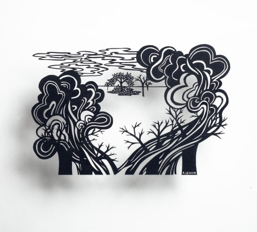 Art & Wall Decor by Bianca Levan Papercuts seen at 1890 Bryant Street Studios, San Francisco - In the Clearing, Behind the Smoke, the Clouds Will Part