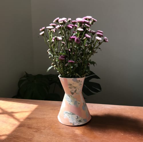Vases & Vessels by Renee's Ceramics seen at Private Residence, Tainan - Nerikomi Funnel Vase
