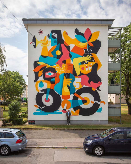 Murals by RUBEN SANCHEZ seen at Mannheim, Mannheim - Multicultural Balance mural