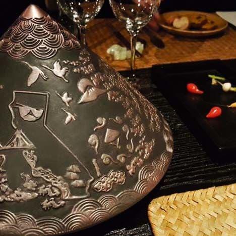 Sculptures by ESMA DEREBOY seen at Da Lat Rose, Beverly Hills - Handmade Ceramic Traditional Vietnamese Hat