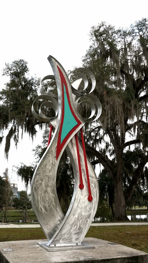 """Public Sculptures by Gus Lina Fine Art seen at Ocala Tuscawilla Park, Ocala - """"Twin Souls"""""""